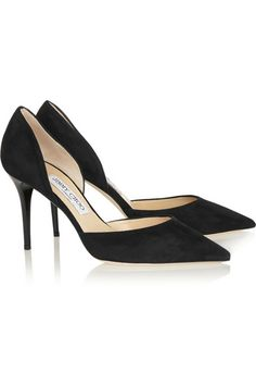 """These Jimmy Choo shoes with 3.5"""" heels in black suede are very reminiscent of the shoes we wore in the late 1950's."""