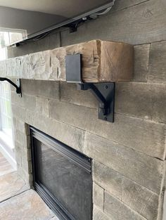 Rustic Fireplace Mantel with metal straps & bolts, Custom Made to Order, U pick or Custom size or Color Distressed Fireplace, Rustic Fireplace Mantels, Wooden Mantel, Mantles, Industrial Fireplaces, Gas Fireplaces, Farmhouse Fireplace, Home Fireplace, Fireplace Remodel