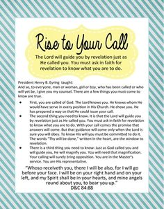 """Rise to Your Call"" ~ President Henry B. Eyring"