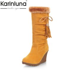25c82ef248ba KARINLUNA 2017 large size winter shoes woman fashion add fur slip on snow  boots women warm plush wedges high heel shoes