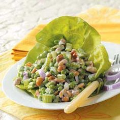 *Keeper!  Pea and Peanut Salad.  A delicious textured salad simple and quick to prepare, toss in the crumbled bacon and peanuts just before serving.  I agree, people who don't like peas like this salad!  #tasteofhome #easterdinner