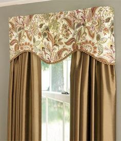 Paisley Jacobean Lined Scalloped Valance by Country Curtains - Pinned from iCatalog™ Bedroom Valances, Dining Room Curtains, Bedroom Windows, Curtains Living, Country Kitchen Designs, French Country Kitchens, French Country Living Room, French Country Curtains, Valance Window Treatments