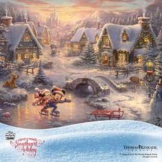 "The Thomas Kinkade Studios is proud to present ""Mickey and Minnie – Sweetheart Holiday"", the follow-up to the sold out Limited Edition Canvases - ""Mickey and Minnie – Sweetheart Cove"" and ""Mickey and Minnie – Sweetheart Bridge"". This romantic painting celebrates the magic and wonder of winter, and is available in a very small edition size. Don't miss out - https://thomaskinkade.com/art/mickey-and-minnie-sweetheart-holiday/"