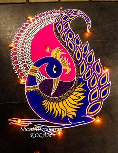 51 Diwali Rangoli Designs Simple and Beautiful - TipsMAXX Rangoli Designs Peacock, Rangoli Designs Latest, Rangoli Patterns, Colorful Rangoli Designs, Rangoli Ideas, Rangoli Designs Diwali, Rangoli Designs Images, Diwali Rangoli, Peacock Art