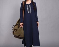 Linnen jurk katoenen jurk Maxi jurk Kaftan Casual losse door Luckywu