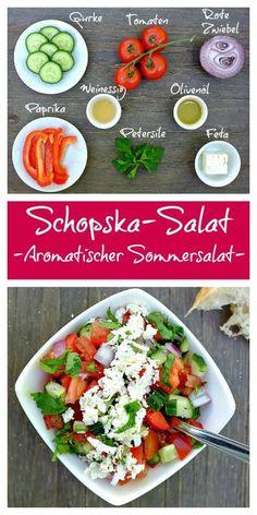 Dieser schnelle Schopska-Salat mit Tomate, Gurke, Paprika und Feta steckt voller toller Aromen - perfekt zu Brot oder zu gegrillten Fleisch.