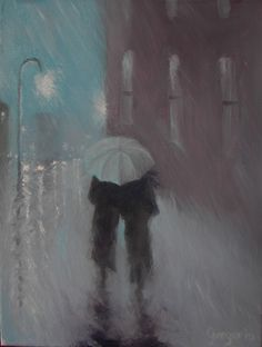 Downpour ll, painting by Gene Gregorio, Oil on canvas
