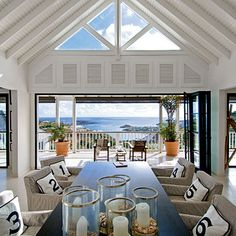 Modern dining room with a valuted ceiling
