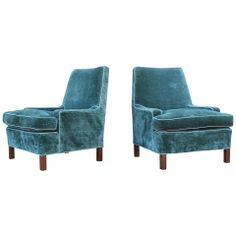 Pair of Low Arm Lounge Chairs by Edward Wormley for Dunbar thumbnail 1