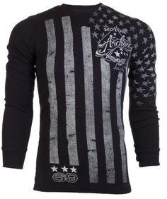Archaic AFFLICTION Men THERMAL Shirt NATION American Custom USA FLAG Biker $58 a #Affliction #GraphicTee