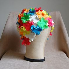 1960s Multicolored Flower Bathing Cap by DressCastles on Etsy, $29.99