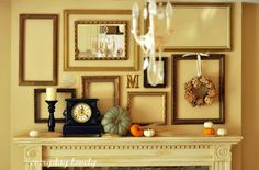 Idea to create cluster of empty frames on wall or above fireplace mantel.  Easy to change out decorations for each holiday or season.