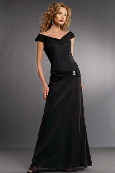 Fancy A-line dropped waist chiffon dress for bridesmaid