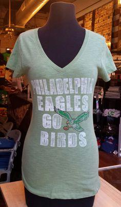 Philadelphia Eagles Legacy Go Birds Fern Green Women's V-Neck T-shirt