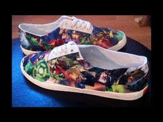 How to Make Comic Book Canvas Shoes - YouTube