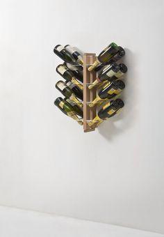 Zia Gaia portabottiglie a parete in legno naturale / wall wine bottle holder
