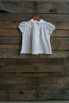 Vintage Children's White & Pink Floral Dress by vintapod on Etsy