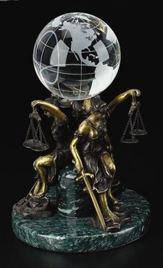 Lady Justice Bronze Lead Crystal Globe Stand And Ball T.P.