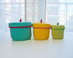 Instant Download - PDF CROCHET PATTERN - 3 Crochet Boxes  (Quick and Easy)  -  Permission to Sell Finished Items on Etsy, $2.99
