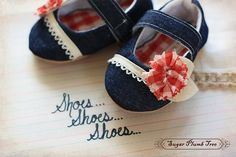 Denim and gingham baby shoes
