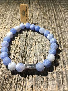 8mm Blue Crackle Agate gemstone