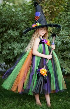 OLGA The Witch - Halter Top Halloween Costume Tutu Dress Set, Includes Dress, Hat and Broom Sizes 12-24 2T 3T 4T 5T 5/6 7/8. $154.95, via Etsy.