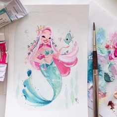 A gift for a very, very, very patient friend from a while back.   @ikupoo #gouache #MondayMermie