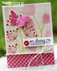 sentiment from Sent with Love and a butterfly from Beautiful Spring set.