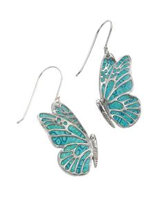 Turquoise Sterling Silver Butterfly Earrings