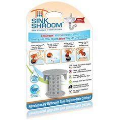 SinkShroom The Revolutionary Sink Drain Protector Hair Catcher/Strainer/Snare, Gray