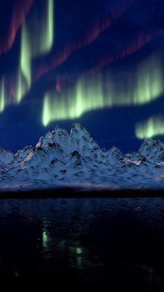Aurora, Northern lights, mountains, reflections, 720x1280 wallpaper