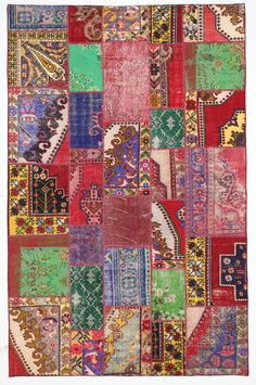 Primary Colors Multicolor Rug Patchwork Vintage by bazaarbayar