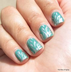Basic Green Stamping Nail Art | The Rite of Aging