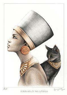 Ancient Egyptian Goddess Bast (Bastet). Goddess of Protection, and mother to all feline! Purrr