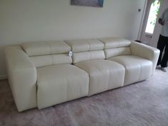 Binari 3 Seater Designer Sofa With Reclining Seats And Adjustable Headrests  In Leather. As Delivered