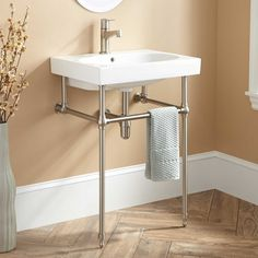"""Anabela Console Sink with Brass Stand - Bathroom Length: 24-1/4"""" Basin Length: 21"""""""