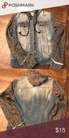 Hooded blue jean jacket with cloth sleeves Hooded blue jean jacket with cloth sleeves.  Great condition, like new!! Mossimo Supply Co. Jackets & Coats Jean Jackets