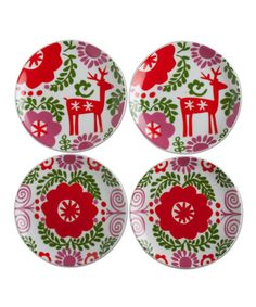 Look what I found on #zulily! Nordic Holiday Tidbit Plates - Set of Four #zulilyfinds