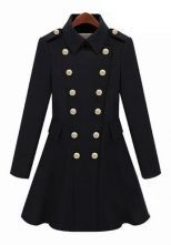 I Want This!!!  Black Lapel Long Sleeve Epaulet Buttons Coat $62.58