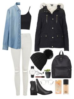 """""""Untitled #36"""" by t-k-amie on Polyvore featuring Topshop, Uniqlo, 3.1 Phillip Lim, Daniel Wellington, Eastpak, MAC Cosmetics, Forever 21, Ray-Ban, women's clothing and women's fashion"""