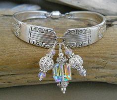 Your place to buy and sell all things handmade Silver Spoon Jewelry, Silver Spoons, Silver Plate, Spoon Bracelet, Bracelets, Wire Work, Forks, Quartz Crystal, Vintage Antiques