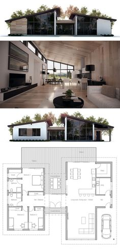 House Plans in Modern Architecture. Modern House Plans, Small House Plans, House Floor Plans, Garage House Plans, House Layouts, Future House, Building A House, Architecture Design, New Homes