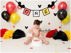 Alicia Kathryn Photo-Design: NH Newborn Photographer www.AliciaKathrynPhoto-Design.com Mickey Mouse theme cake smash, 1 year old birthday
