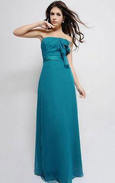 A-line #Strapless Chiffon #Zipper Floor-length #Bridesmaid Dresses