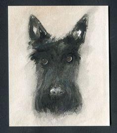 Scottie Dog Original Watercolour Painting Dog Art