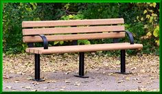Steel Frame Park Bench with Back