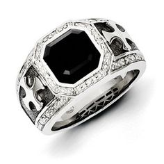 Sterling Silver Bezel Polished Prong set Gift Boxed Diamond and Simulated Onyx Black Rhodium-plated Cross Mens Ring - Ri, Size: 11 Mens Gemstone Rings, Mens Crosses, Black Rhodium, Silver Diamonds, Natural Diamonds, Bracelets For Men, Fashion Rings, Sterling Silver Jewelry, Silver Necklaces