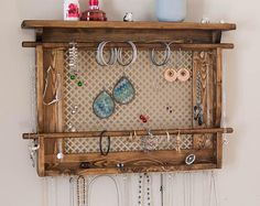 Jewelry Organizer LARGE Wall Mounted Jewelry Holder. Shown in