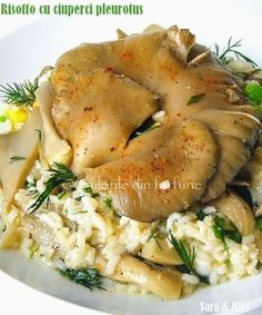 Risotto cu ciuperci pleurotus 1. Mai, Romanian Food, Risotto, Food And Drink, Vegan, Chicken, Martha Stewart, Cooking, Ethnic Recipes