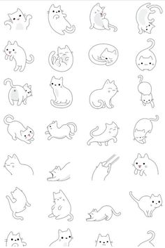64 Trendy Drawing Animals Tips Character Design References Doodle Drawings, Cartoon Drawings, Animal Drawings, Easy Drawings, Doodle Art, Cute Cat Drawing, Simple Cat Drawing, Simple Cat Tattoo, Drawing Art